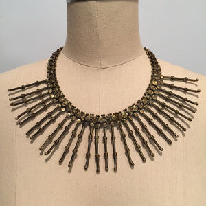 Boho bib spike necklaceantique brass